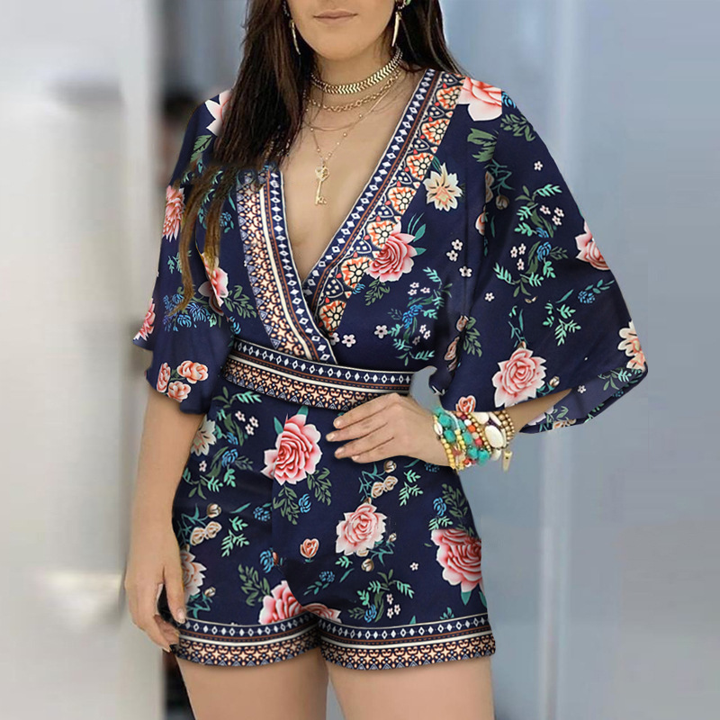 hirigin Women's Jumpsuit Casual Summer Floral Printed Playsuit 2020 Women Rompers 3/4 Sleeve Backless Playsuit Women Clothes