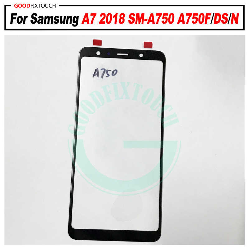 AAA + جودة لسامسونج غالاكسي A7 2018 A750 A750F A750FN A750G A8 A750GN LCD شاشة تعمل باللمس الجبهة الخارجي استبدال لوحة الزجاج