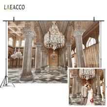 Laeacco luksusowy pałac wzór ściany filary żyrandol fotografia tła dostosowane fotograficzne tła dla Photo Studio