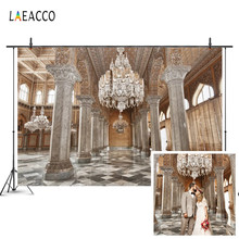 Laeacco 高級宮殿パターン壁柱シャンデリア写真撮影背景カスタマイズされた写真の背景の写真