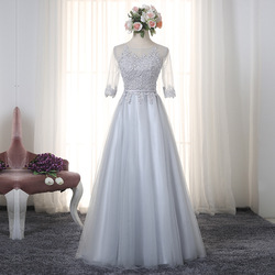 Cheap Long Bridesmaid Dresses Lace Applique Jewel Neck Elegant Prom Party Gowns Tulle A Line Sleeves Wedding Guest Wear