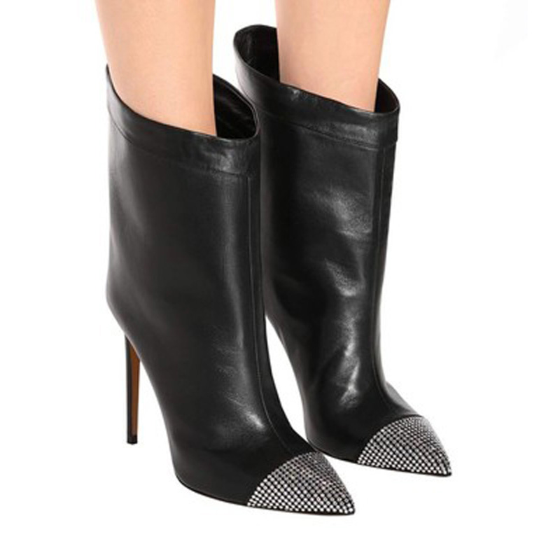 2020 Fashion Women 10cm High Heels Ankle Rivets Fetish Sock Boots Stiletto Heels Boots Studded Scarpins Black Stripper Shoes