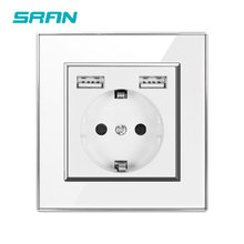 Sran Eu Standaard Muur Elektrische Stopcontact Met Usb Dual Poorten 5V 2.1A White Crystal Acryl Panel 86*86 Usb Plug Outlet(China)