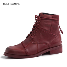 2020 New Vintage Women Boots Low Heels Lace-up Round Head Cowboy Mid-Calf Boots Fashion Casual Platform Shoes Plus Size 34-40 snow boots platform 4 8cm heels down flat women shoes black white blue mid calf boots fashion ladies winter boots plus size 44