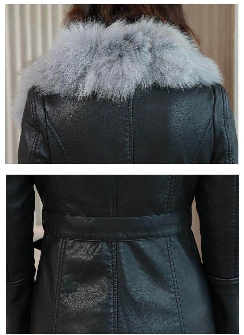 Hc55e2736939e46528c07e4f0ad6aadd2I Vangull Women's Leather Jacket for Winter 2021 New Plus Velvet Warm Slim Big Fur Collar Long Leather Coat Female Outerwear M-4XL