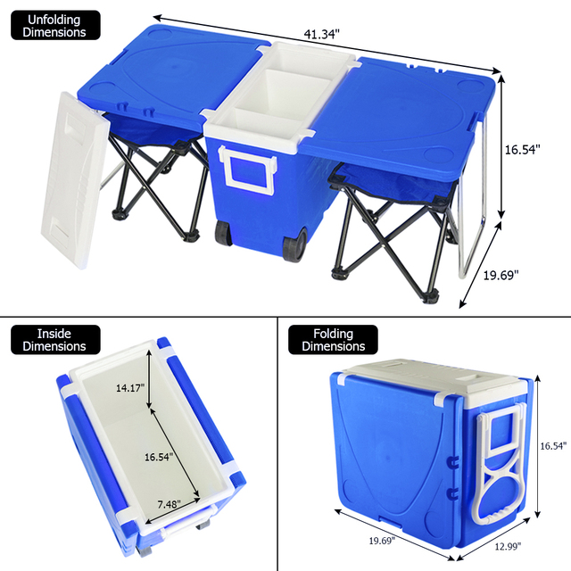 Outdoor Picnic Foldable Multi-function Rolling Cooler Stool  4