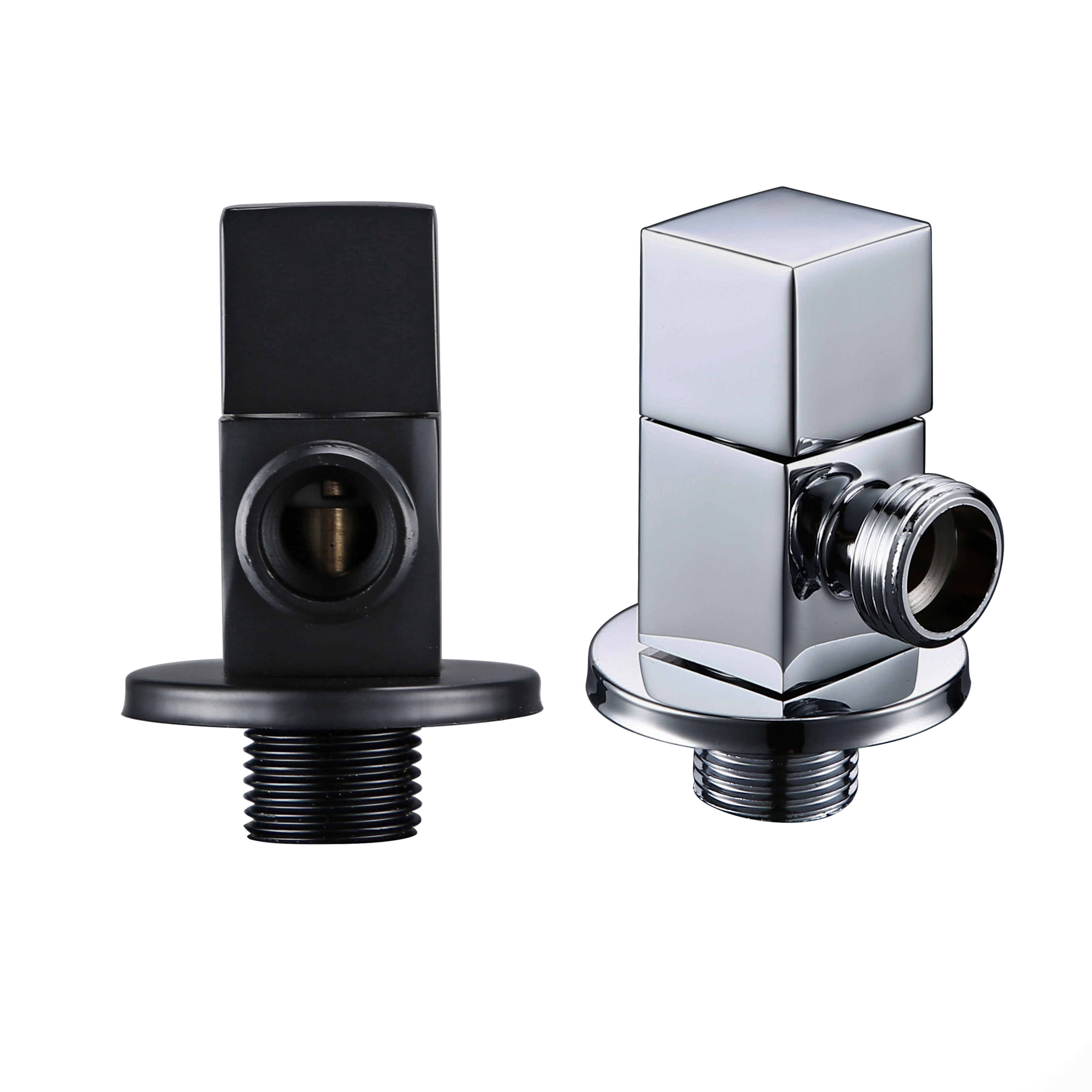 Brass Titanium g1/2 toilet flush Solid Brass Quarter Turn Polished Chrome angle valve black Bathroom accessories image