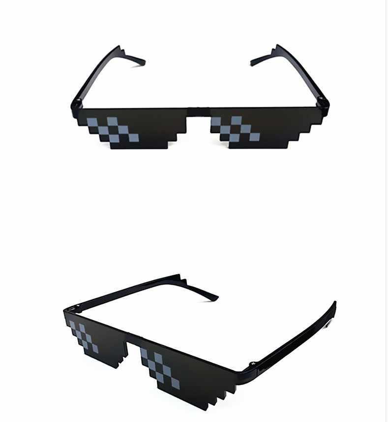 Pesta Hadiah Mosaik Kacamata Trik Mainan Thug Life Kacamata Berurusan dengan Itu Kacamata Pixel Wanita Hitam Meriah Hadiah