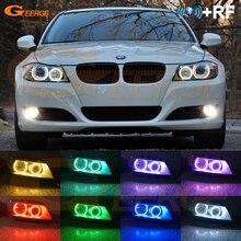 цена на For BMW 3 Series E90 E91 LCI 2008-2012 Xenon Headlight Excellent Multi-Color RGB LED Angel Eyes kit halo rings
