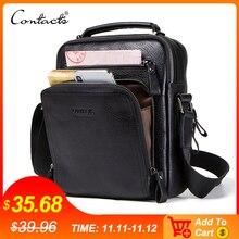 CONTACTS Высококачественная, модная  сумка рюкзак из натуральной 100% кожи, для ipad 9.7 мужские сумки на ремне 2019