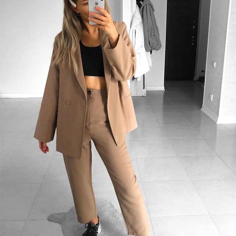 HziriP 2019 New Autumn Office Wear Casual Solid Women Pant Suits Notched Collar Blazers Jacket & Pencil Pant Khaki Blazer Set