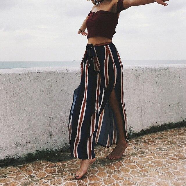 Loose Striped Wide Leg Pants Holiday Full Length High Slit Chiffon Palazzo Pants Women Fashion & Designs
