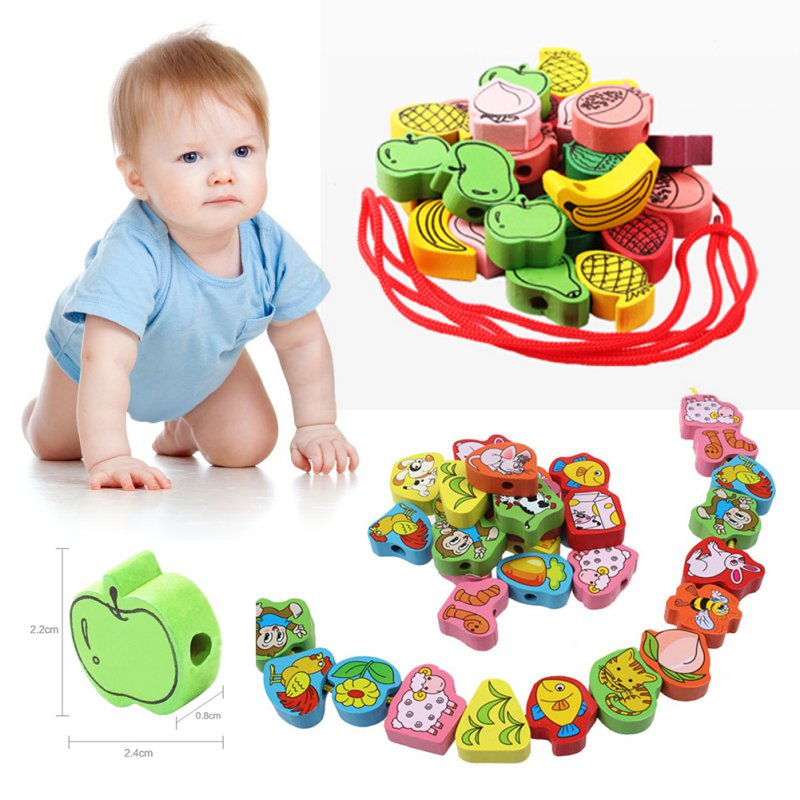25PCS Cartoon Fruit Animal Stringing Threading Wooden Beads Toy Kids Wooden Toys Baby DIY Toy Random Pattern