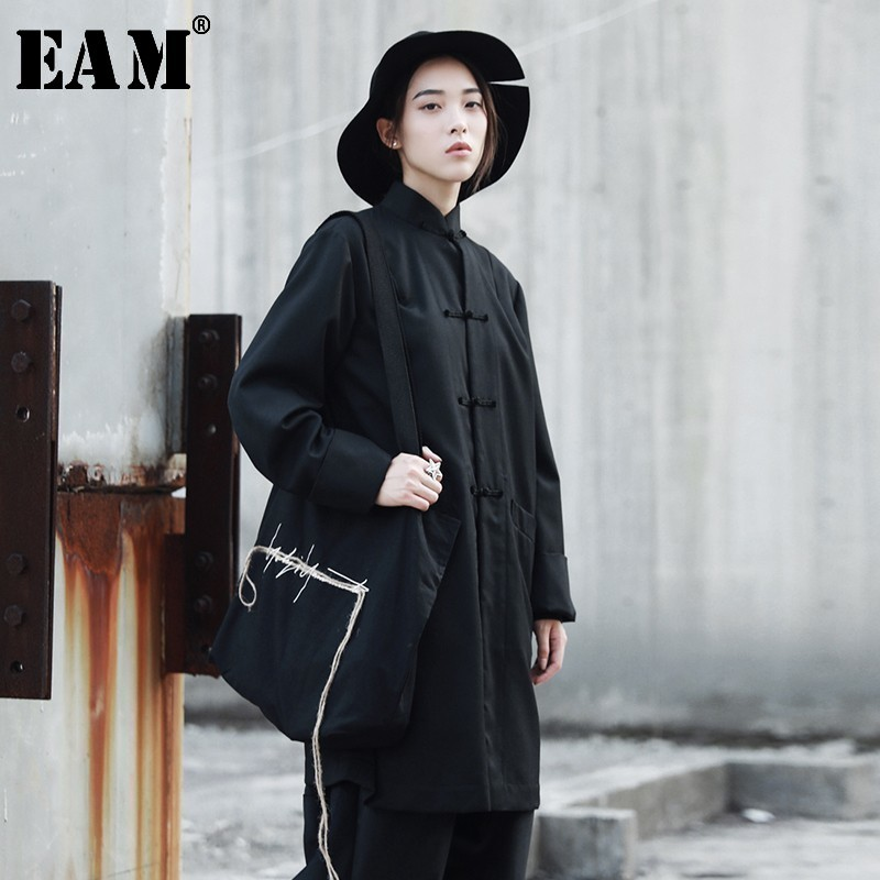 [EAM] Women Black Brief Temperament Blouse New Stand Collar Long Sleeve Loose Fit Shirt Fashion Tide Spring Autumn 2020 YA354