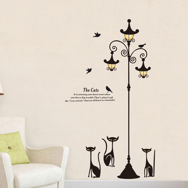 Cat Lantern Fashion Wall Stickers DIY Home Decor Living Room Bedroom Vinyl Decor