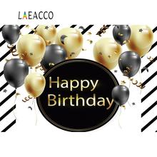 Laeacco Photo Background Balloons Happy Birthday Party Stripes Poster Baby Portrait Photography Backdrops Studio Photocall