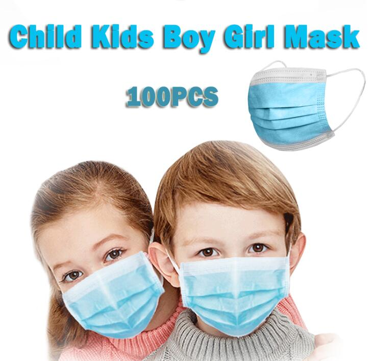 100pcs Child Face Mask 3-Ply Antivirus Anti-virus Anti-Dust Anti Dustproof Mouth Masks Mask Child Mask PM2.5 Protective Mask