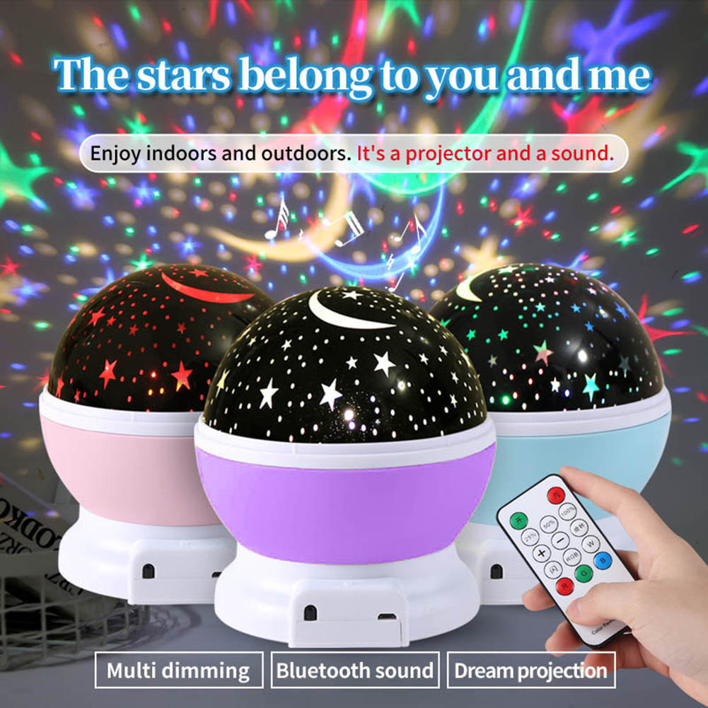 Romantic Starry Sky Projector LED Night Light with Remote Control USB Charging Bluetooth Audio Projection Light Projector