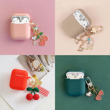 Lucu Cherry Anjing Kosmik Astronot Liontin untuk Apple Udara Pods Case Aksesoris Bluetooth Silikon Earphone Kasus Headphone Cover(China)
