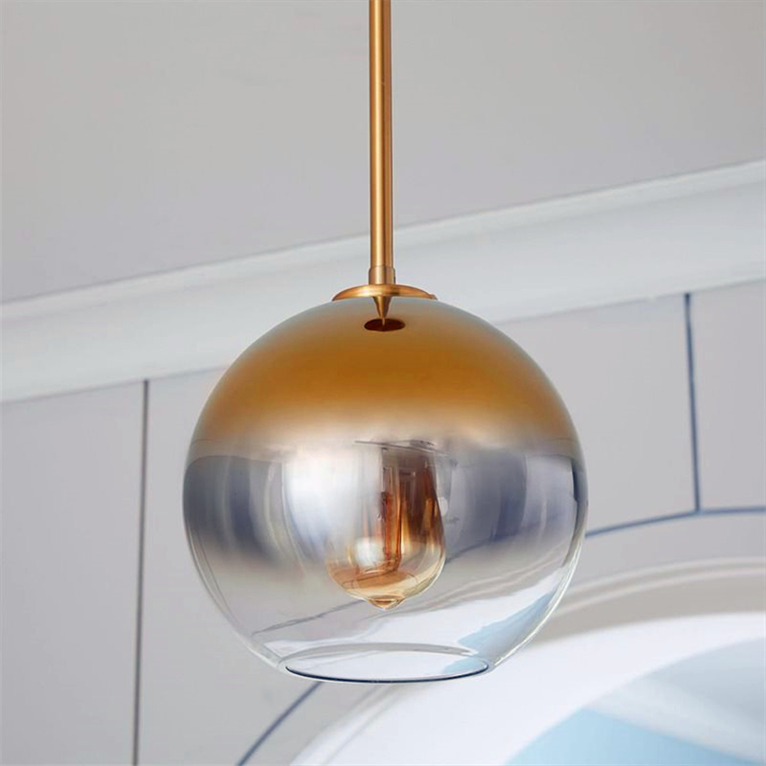Modern LED Pendant Light LightingtSilver Gold Glass Pendant Lamp Ball Hanging Lamp Kitchen Fixtures Dining Living Room Luminaire