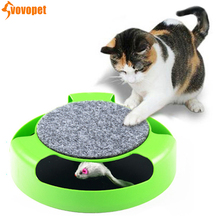 Funny rotating pet cat toy mouse teaser Plastic Interactive intelligence catch play turntable with mice kitten