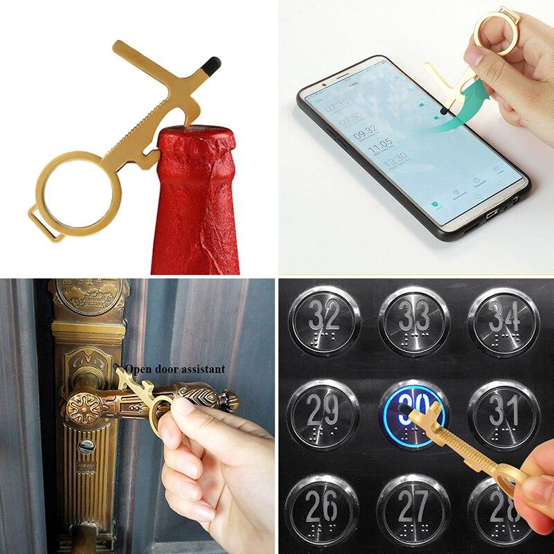 1pcs Door Handle Keychain Portable Stick Non-contact Hygiene Hand Press Elevator Tool Door Opener Avoid Touching Key Buckle