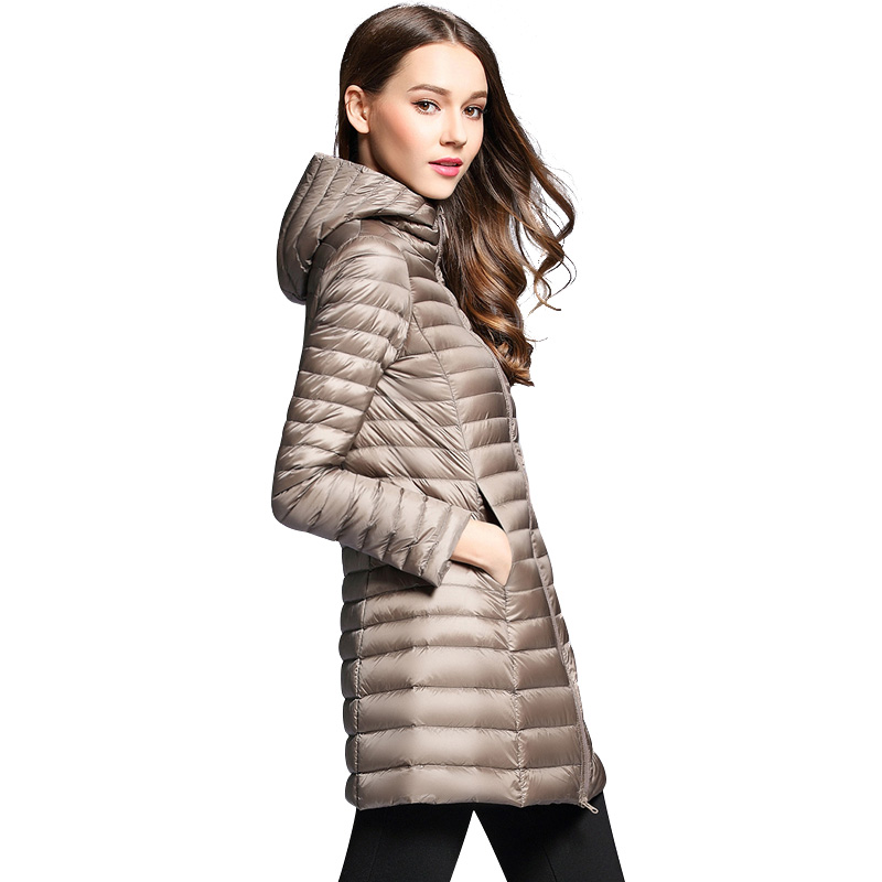 SVOKOR Women's Winter Down Jacket Hooded Long Jacket White Duck Down Female Overcoat Ultra Light Slim Solid Jackets