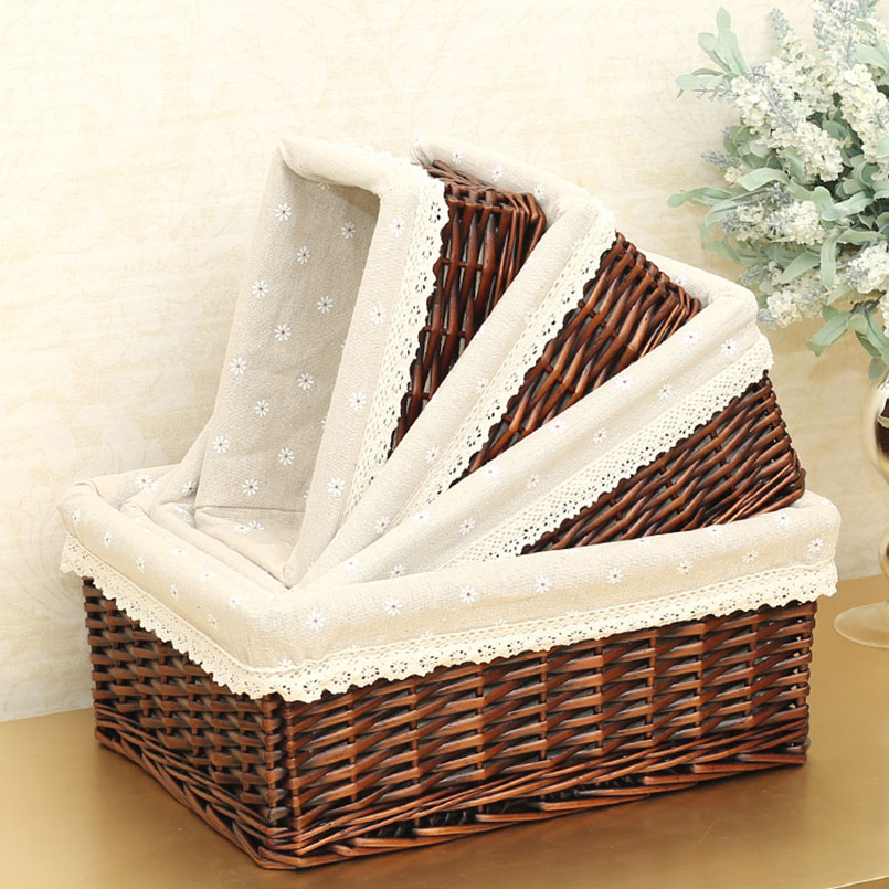 4 Sizes Handmade Rattan Storage Baskets Household Items Snacks Fruit Debris Laundry Finishing Willow Storage Basket