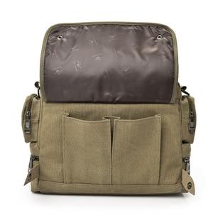 Image 4 - Multi function canvas men bag Fashion shoulder bag for men Business casual crossbody messenger bag briefcase travel bags