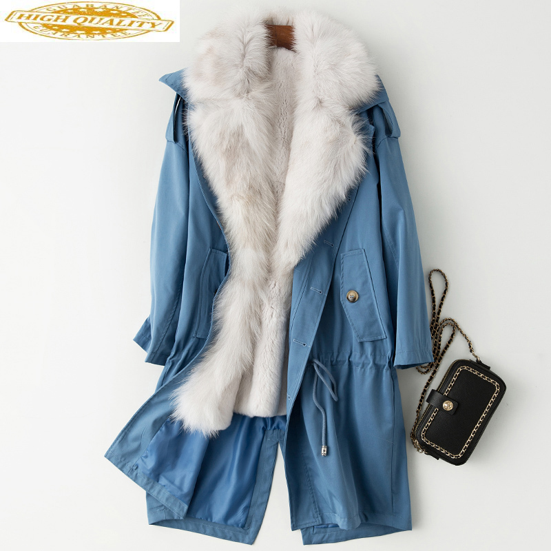 Parka Real Fur Coat Winter Coat Women Real Rabbit Fur Liner Long Jackets For Women Fox Fur Collar Warm Overcoat MY4207