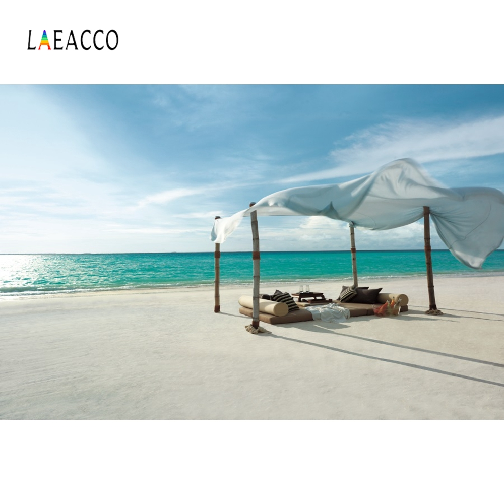 Laeacco Seaside Bed Backdrops Photography Backgrounds Customized Summer Holiday Portrait Photographic Backdrops For Photo Studio