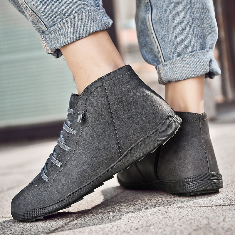 Image 3 - 2020 New Men Boots Leather Ankle Boots Women High Quality PU Desert Boots Couples Fluff Men Sneakers Casual Shoes DropshippingMens Casual Shoes   -