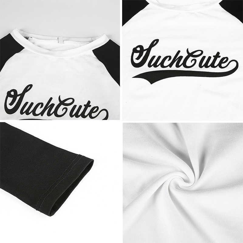 Rockmore Bodycon Harajuku camisetas de mujer con estampado de letras de Patchwork de manga larga de otoño Crop Top Camisetas básicas
