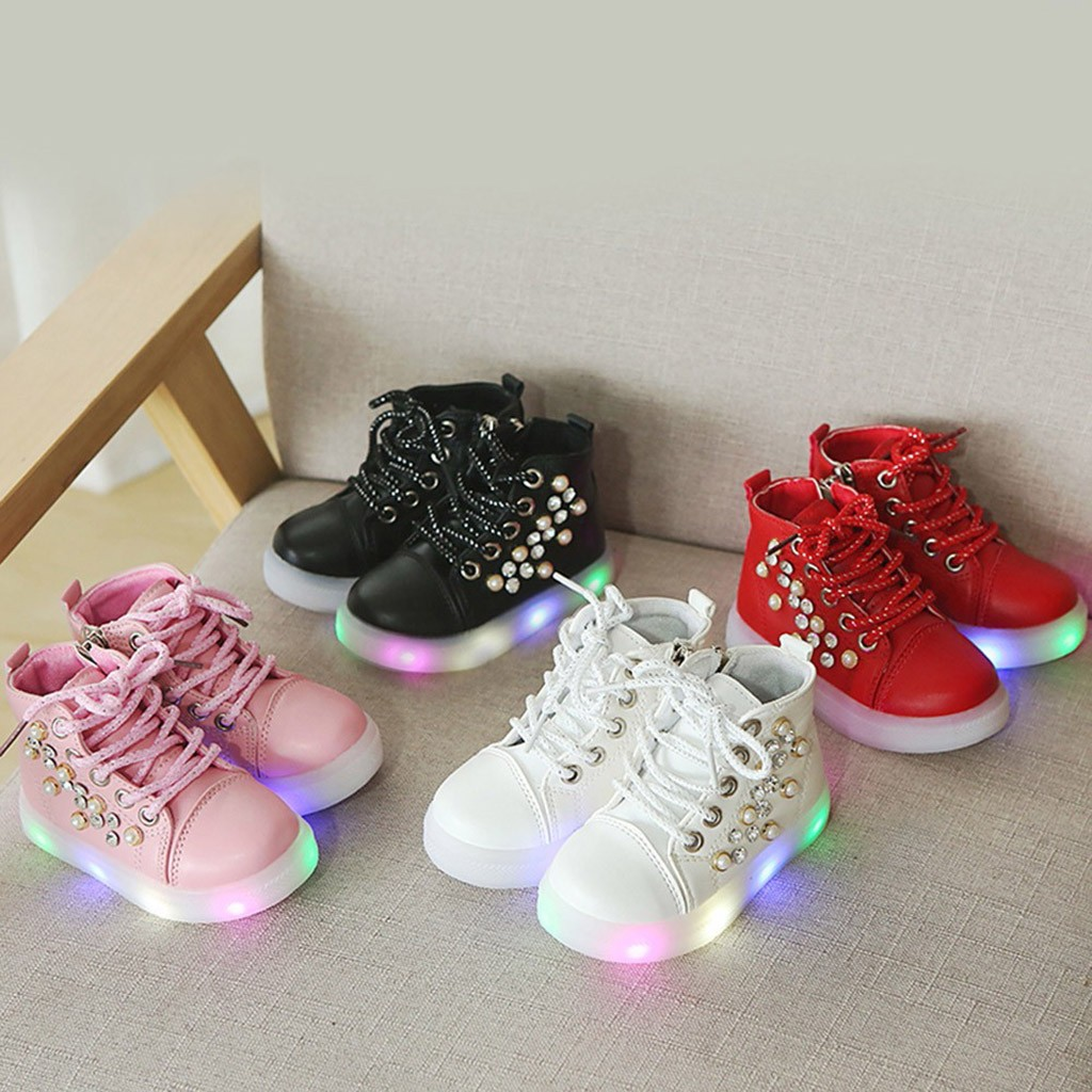 Baby Toddler Kids Boots Children Baby Girls Pearl Crystal Led Light Luminous Running Sport Boots Shoes детская зимняя обувь