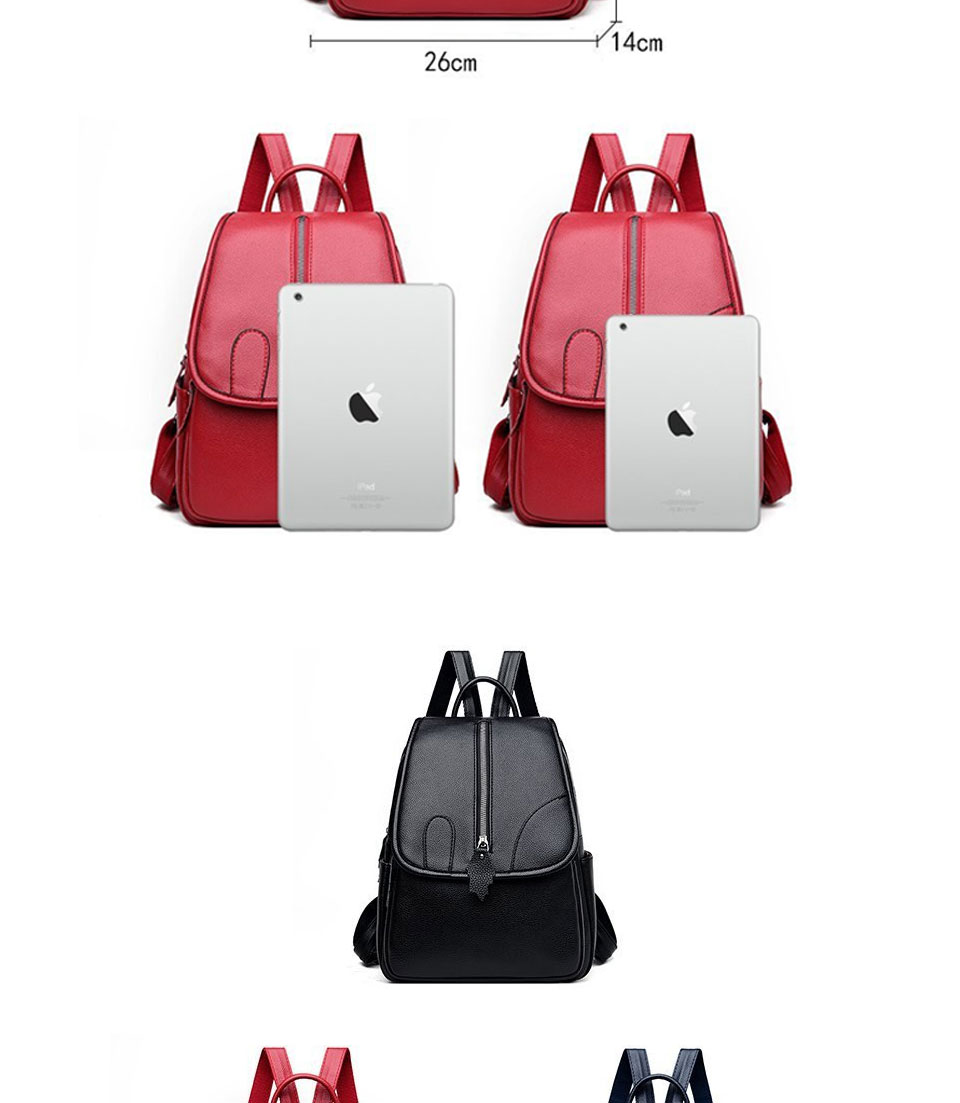 ACELURE Solid Color Women's PU Leather Backpack Classic Black Waterproof Travel Multi-function School Bag for Teenager Students