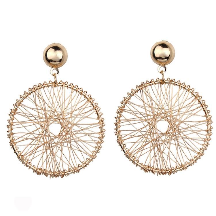 Earings Brinco Han Edition Contracted Design Feeling Metal Geometry Circular Earrings Eardrop Female Thread Winding Hyperbole