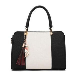 Image 2 - Trendy Patchwork Farbe Schulter Tasche für Frauen Mittleren Totes Geldbörse Büro Dame Umhängetaschen gabe quaste ornament Handtaschen