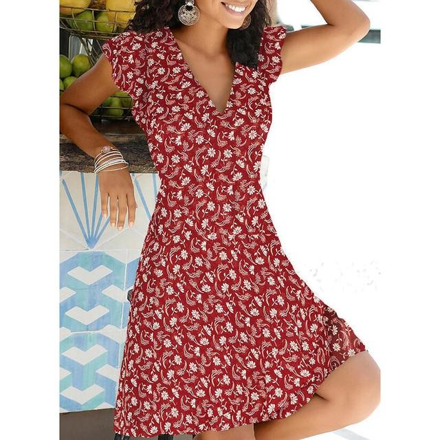New Summer V Neck Floral Print Party Dress Women Vintage Sleeveless Tank Mini Dress Spring Loose Plus Size A-Line Dress 2021 6