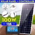 100W 18V MonocrystalineSolar Panel Dual 12V/5V DC USB Ladegerät Kit mit 10A Solar Controller & kabel