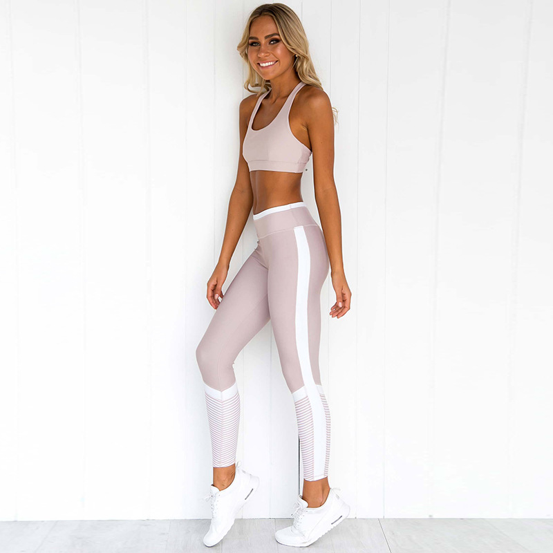 2 Piece Gym Set Fitness Woman Sportswear Exercise Leggings Padded Sports Bras Women Fitness Wear Yoga Sets Sports Suits L,ZF327