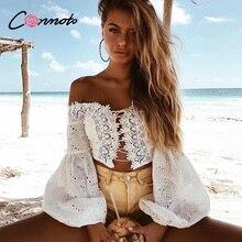 Conmoto Сексуальная белая блузка со шнуровкой 2019, летний пляжный короткий топ с открытыми плечами, женская блузка с вырезом
