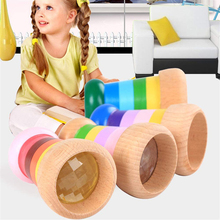 Rainbow Wooden Magical Mini Kaleidoscope Bee Eye Effect Polygon Prism Children Toy