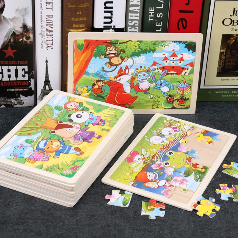 24 Pieces Of Children's Jigsaw Puzzle Toys With Wooden Border Cartoon Animals, Boys And Girls, Babies And Kindergartens