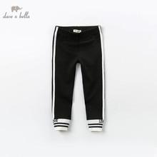 Dbk12243 dave bella primavera crianças meninas moda carta listrado calças crianças boutique casual tornozelo comprimento calças