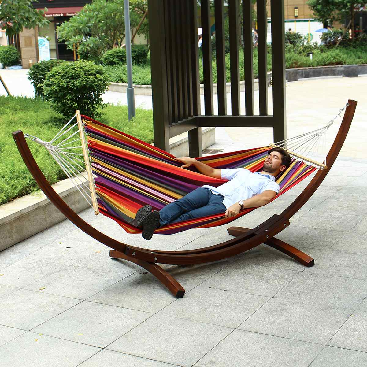 2 Adults Quilted Hammock Russian Pine Hardwood Arc Frame Hammock Stand Heavy Duty Wooden Hammock Wood Arc Stand