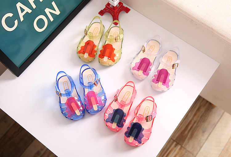 Trẻ Em Mini Xăng Đan Thời Trang 2019 Nữ Mới Gậy Jelly Giày Bé Pvc Giày Sandal Trẻ Em Giày Đi Biển Không trượt Giày Tập Đi Cho Bé