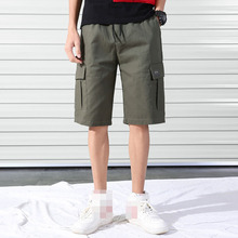Men  Knee Length Cotton Safari Style Shorts Straight Low Solid Casual Drawstring Hombre Summer New