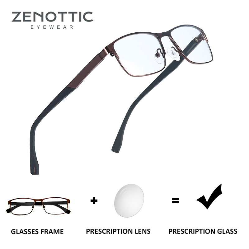 ZENOTTIC Optical Prescription Glasses Men Women Myopia Photochromic Eyeglasses Metal Square Frame Anti-Blue-Ray Lenses BT2103