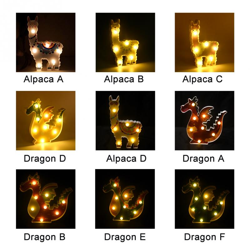 Image 3 - 6 leds Night Lamp Hanging Desktop Battery Powered Cute Light Gift Bedside Path Alpaca Shape Decorative dragon animal style-in LED Night Lights from Lights & Lighting