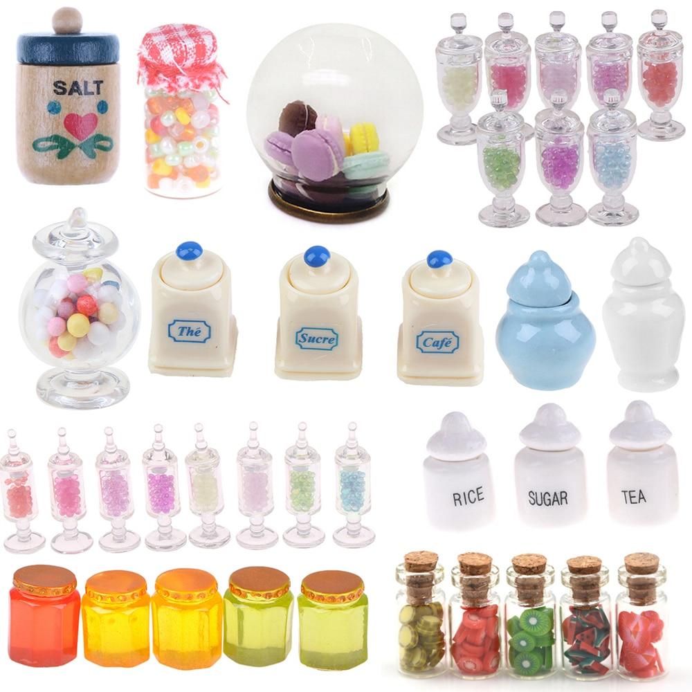 1/2/4/5pcs 1:12 Dollhouse Miniature Food Snacks Glass Jars Candy Bar Food Jar Kitchen Decoration Dolls Accessories Children Toys